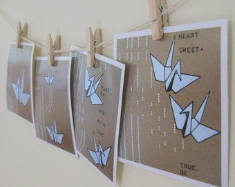 Art Print Love Cranes - 4 Mini Art Prints 4 x 4 White Brown Origami Illustration Peace Cranes