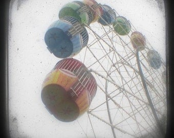 Ferris Wheel Photo 5x5 TtV Carnival Photograph, Fun Fair Ride White Yellow, Blue, Green, Circus Art, Boys Room, Nursery Art Print, Kids Room