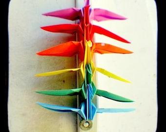 Rainbow Peace Cranes Photo Print 5x5 TtV Colorful Origami, LGBT Pride, Purple, Tangerine Orange, Green, Kids Room, Nursery Art, Home Decor