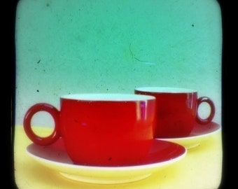 Coffee Photo Mid Century Home Decor Kitchen Art Print 5x5 Turquoise Red Retro Cafe Color Photography