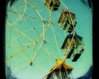 Ferris Wheel Photo 5x5 TtV Carnival Photography Teal Green - Turquoise Sky - Summer Spring - Ride - Fun Fair - Nursery Art Home Decor Print