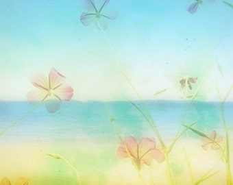 Beach Photography Print Soft Dreamy Beach Scene Picture 4x4 Beach Photograph, Tropical Flowers, Blue Ombre, Summer Home Decor Beach Photo