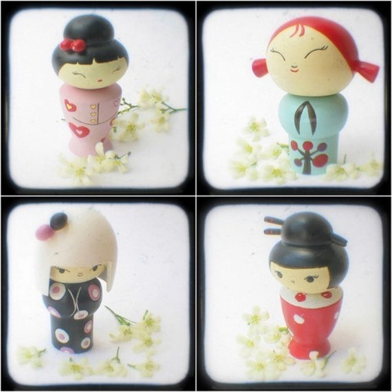 Fine Art Photography Whimsical Kokeshi Dolls TTV Photo Prints Pink Aqua Black Red Kawaii Photographs, Girls Room, Nursery Decor