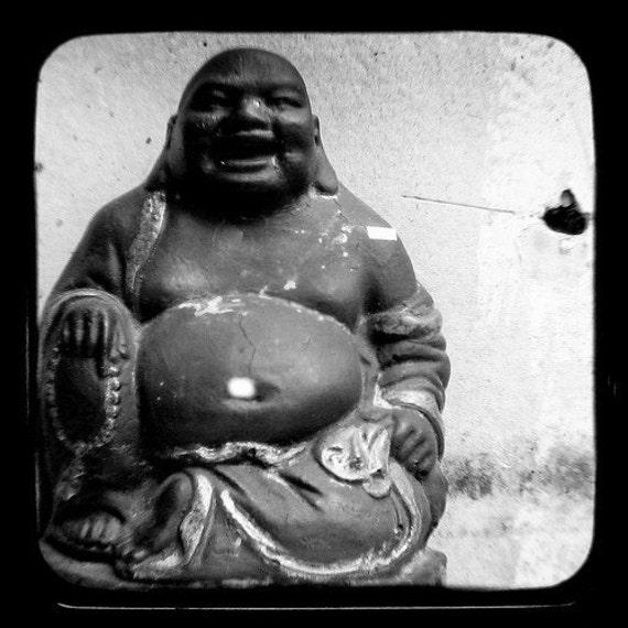 Buddha Photo Black and White Photography 5x5 TtV Buddha Art Print Monochromatic Photography Monotone Home Decor Buddhist Rustic Wall Decor