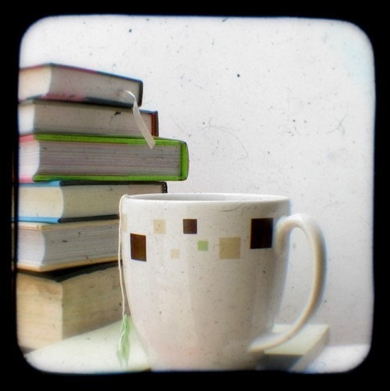 Books and Tea Photo 4x4 Tea Drinking Bookworms, Library Adventures TtV Fine Art Photography Print for Lovers of Literature