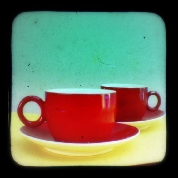 Coffee Photo Mid Century Home Decor Kitchen Art Print 5x5 Turquoise Red Retro Cafe Color Photography Wall Decor TtV Still Life Photograph