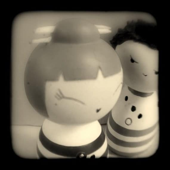 Whimsical Photography Nursery Room Home Decor 4x4 Childs Art Photo Print Kids Room - Black and White Stripes Kokeshi Dolls Kawaii Photograph