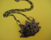 Earthy Lotus Pendant - ceramic necklace - CLEARANCE ON SALE