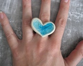 RESERVED - Aqua and White Heart Ring
