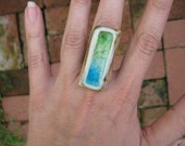 Chunky Tower Ring - green and aqua