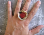 Deep Red Abstract Flower RING - ceramic and glass - one of a kind