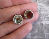 Deep Red Earth Stud Earrings - ceramic and glass