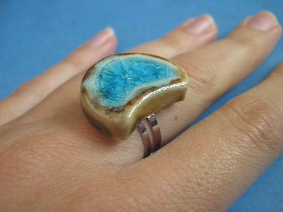 YEAR END SALE Turquoise Crescent Moon Ring