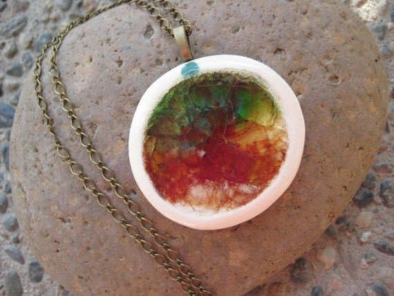 Rainbow Pendant - Round ceramic and crackled glass necklace