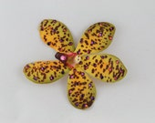 Sparkly Star Yellow Green Exotic Tiki Orchid Hair or Anywhere Clip