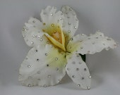 White Large cattleya White and Yellow Orchid Hair Clip