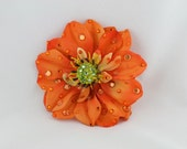 Sparkling Orange Dahlia Flower hair or anywhere clip