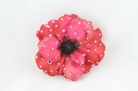 Sparkling Hot Pink Anemone Flower hair or anywhere clip