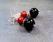 Black Onyx, Ruby  Murano Glass Beads, Sterling Silver, Earrings   SALE   Nights Delight