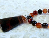 Passion Of Fire  -  Necklace   Carnelian Briolettes, Carnelian Agate Smooth Rounds, Large Carnelian Focal , Sterling Silver