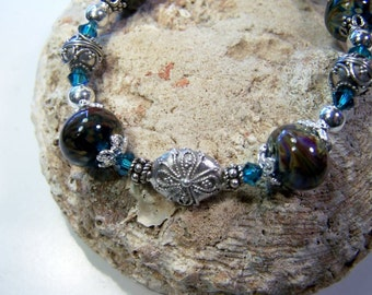 Lampwork Blue Swirled  Boro Beads, Swarovski Crystals,  Sterling  Silver  Bracelet  -  Misty Waters
