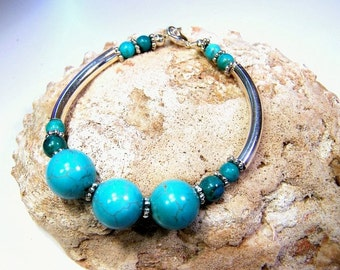 Turquoise, Bali  Daisy Spacer Beads, Sterling Silver Bracelet   -   Harmony