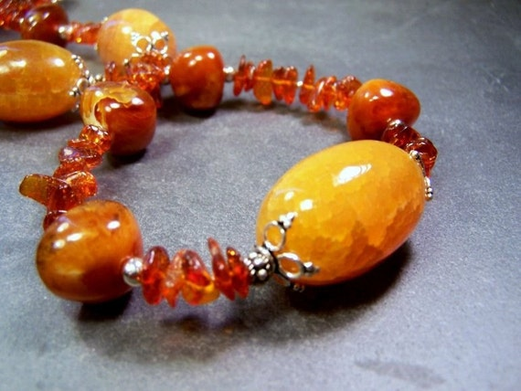 Large Baltic Amber Nuggets and Chips, Large Cracked Golden Agate Ovals,  Sterling Silver Necklace  -  Sweet Sweet Amber