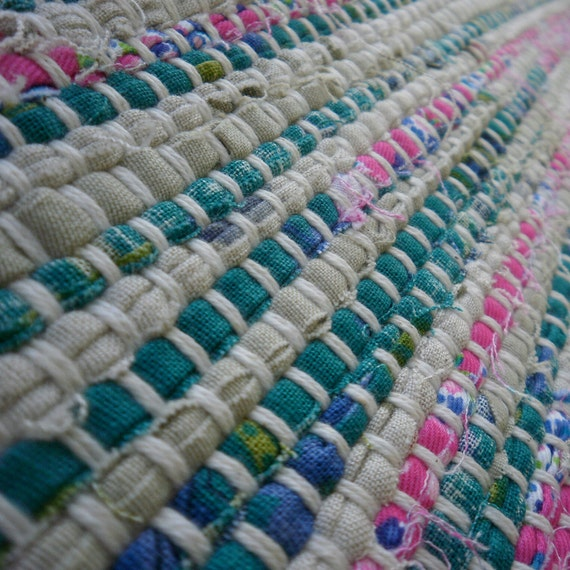 Rag Rug Handwoven -- Cotton Blend -- 26 x 73 inches