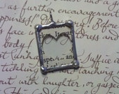 Vintage Book Heart Silhouette Tiny Soldered Glass Charm Pendant