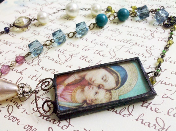 Rosary Style Religious Boho Vintage Bead Chain Soldered Madonna Virgin Mary Mother of God Stained Glass Pendant Necklace