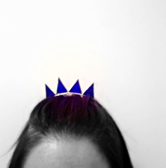 Princess Tiara Crown Stained Glass Blue Barrette Hair Clip