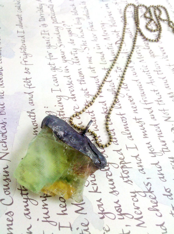 Green Calcite Healing Crystal Soldered Pendant Necklace - Prosperity