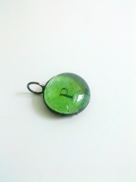 Glass Letter P Bauble Initial Monogram Charm Pendant