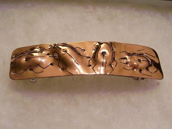 Copper Repousse' Beetle Barrette - Medium