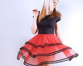 Vintage Red Chiffon and Black Lace Petticoat Skirt