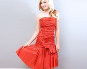 Vintage 80s Bright Red Prom Dress - Strapless - Steppin Out