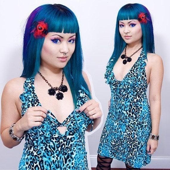 M - SHRINKLE Slutty Ruffled Keyhole Dress - Turquoise Leopard - MEDIUM