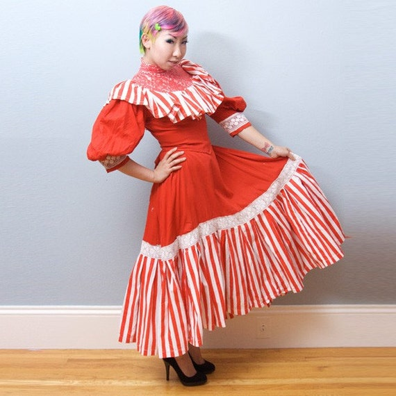 Vintage Victorian Mary Poppins Dress Red/White Stripe Circus Costume - Small