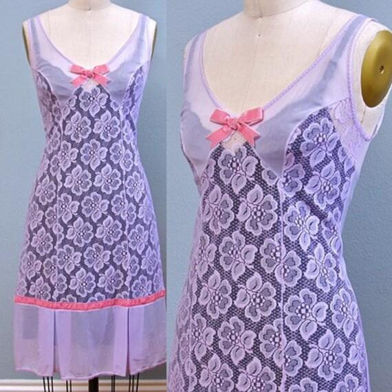 Vintage Lavender Lace Slip w/Pink Velvet Trim