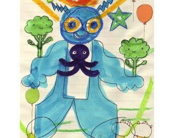 Blue Robot With Broccoli Original Mixed Media by Kelly Newcomer.