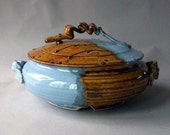 SALE Blue and Amber Serving Dish 12 inches across