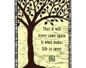 Tree Wood Cut with Emily Dickenson Quote