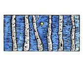Hand Painted Hand Printed Block Print Birch with Star
