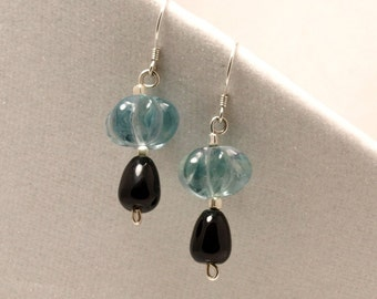 Gifts for 20 black onyx and carved fluorite gemstone sterling silver earrings