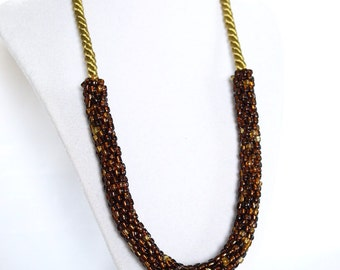 brown beaded crochet summer rope necklace