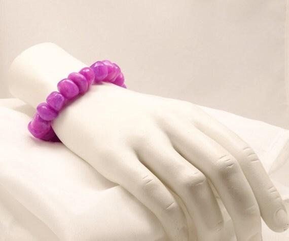 Gifts under 20 Chunky fuchsia purple  spring stone stretchy bracelet