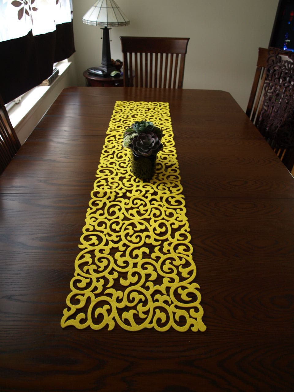 yellow felt modern table runner. Black Bedroom Furniture Sets. Home Design Ideas