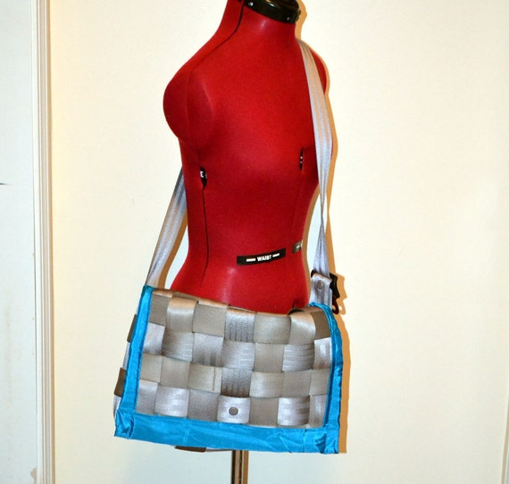 Silver and Turquoise Seatbelt Messneger Bag/ Laptop Case