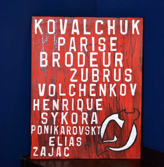 New Jersey Devils 11x14 Roster Painting