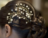 Hollywood Style Bridal Hair Vine in Pearls and Crystal